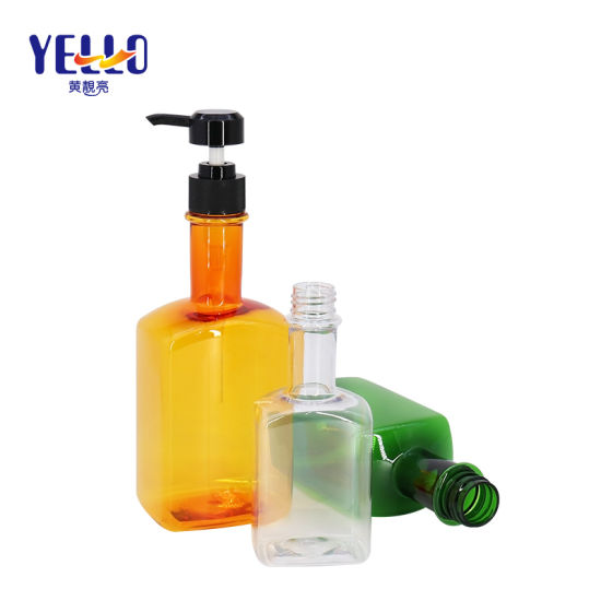 Fashion Clear Square Pet Plastic Wine Container Hair Shampoo Bottle