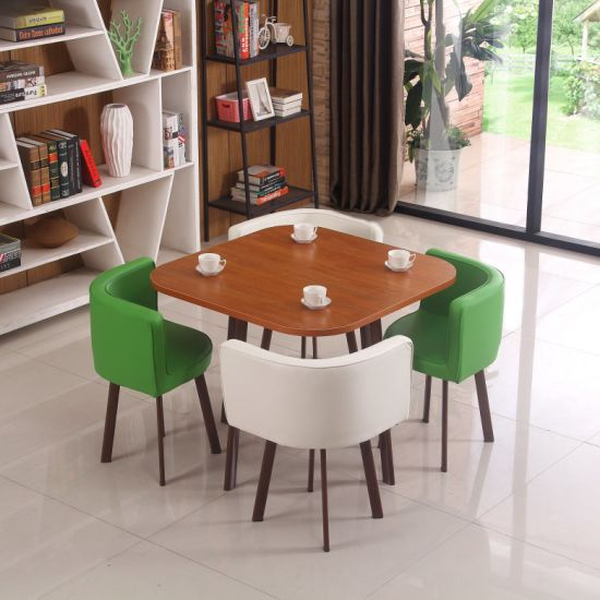 Hot Sale Modern Melamine Top Set Dining Room Furniture Chinese Style Dining Table Set 4 Chairs Best Price Black Simple Design 4 Chairs China Melamine Top Set Dining Room Furniture