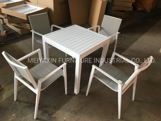 Hot Sale Simple Style Outdoor Dining Furniture with Textilene Fabric