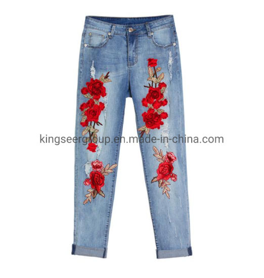 Factory Custom/Customized Embroidered Private Logo/Label/Brand Fashion Denim/Cotton Ladies/Women/Girl Stretch Chinese Style High Quality Bulk Pants/Jean/Jeans