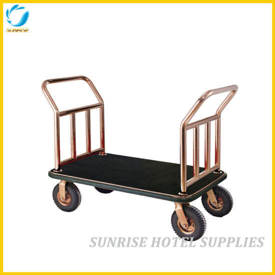 Hotel Lobby Stainless Steel Luggage Cart with Gold Chrome Finish