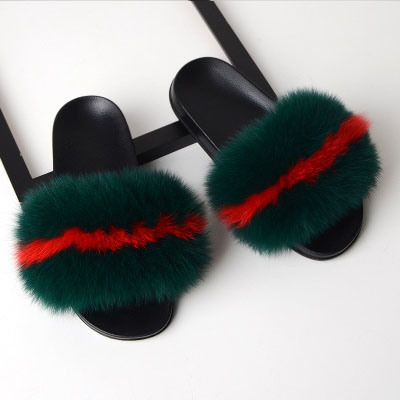 Ladies Fur Slide Sandals Slippers, Faux Fur Slides Slipper Furry Plush Slippers Women, Wholesale Fox Fur Slides Slippers