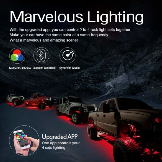 4pcs RGB LED Rock Lights Wireless Control Bluetooth Music Jeep Truck Boats UTV