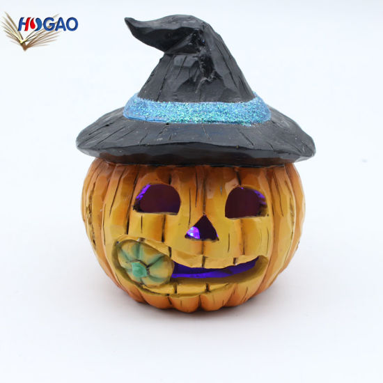 Factory Direct Sale Mini Figurines Craft Resin Halloween Pumpkin Decorations with LED
