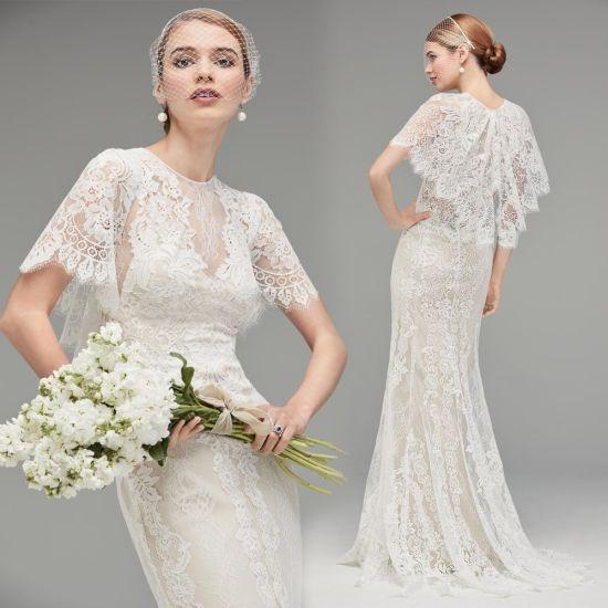 China Lace Wedding Dress Cap Sleeves Sheath Boho Beach Bridal