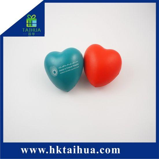 Advertising Logo Slow Rising Heart Shaped Anti Stress PU Toys