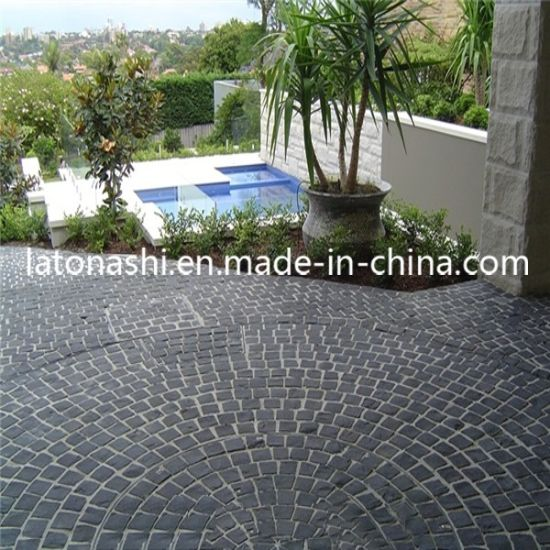 Natural Black Basalt Cobblestone, Non Slip Cube Stone Paver For Patio