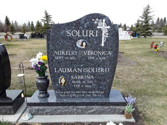Black Granite Cemetery Upright Headstone