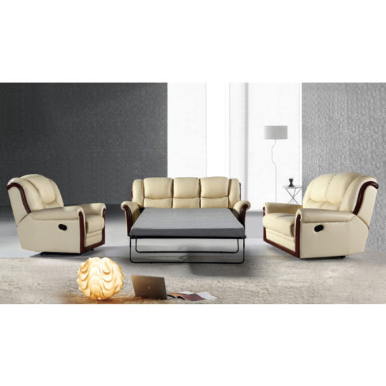 Wood Trim Leather Recliner Sofa Set