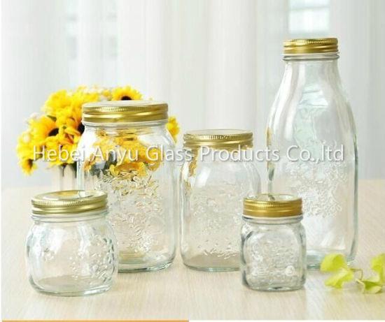 Wholesale 100ml Mini Empty Pudding Milk Glass Bottle Mason Jars With Plastic Cap