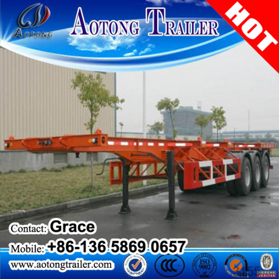 China Manufacturer 2 Axle 3 Axles 20FT 40FT Skeletal Semitrailer Container Trailer for Sale pictures & photos