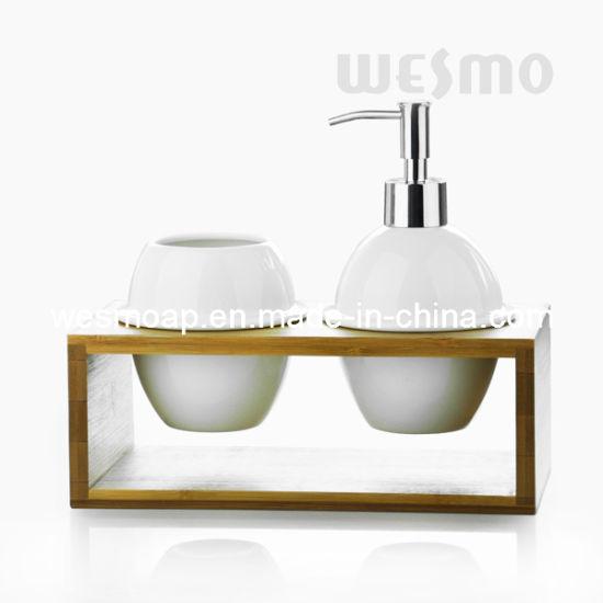 Bamboo and Ceramic Bathroom Set (WBC0802A)