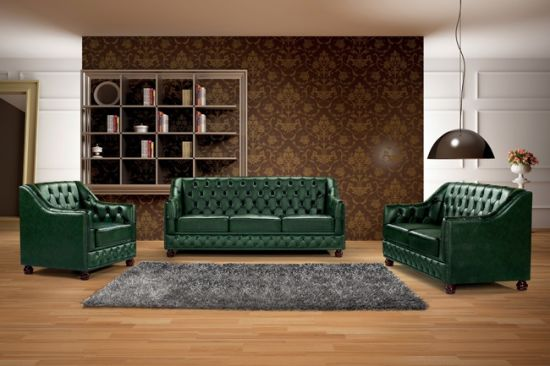 Vintage Green Leather Chesterfield Sofa Ms 07