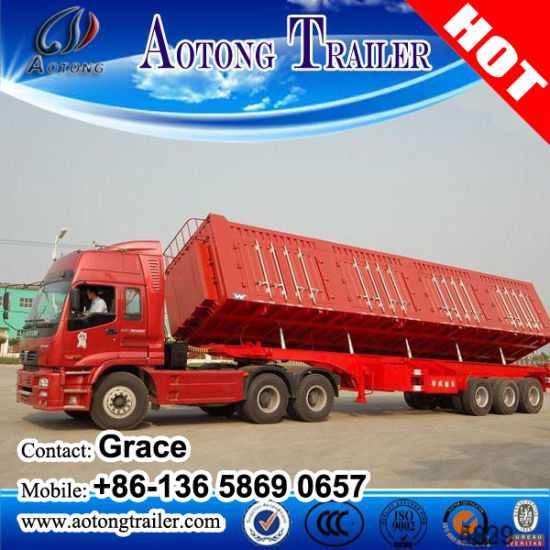 Heavy Duty Transport 3 Axles 50ton 60tons Container Tipping Dump Semi Trailer Tipper Trailer pictures & photos