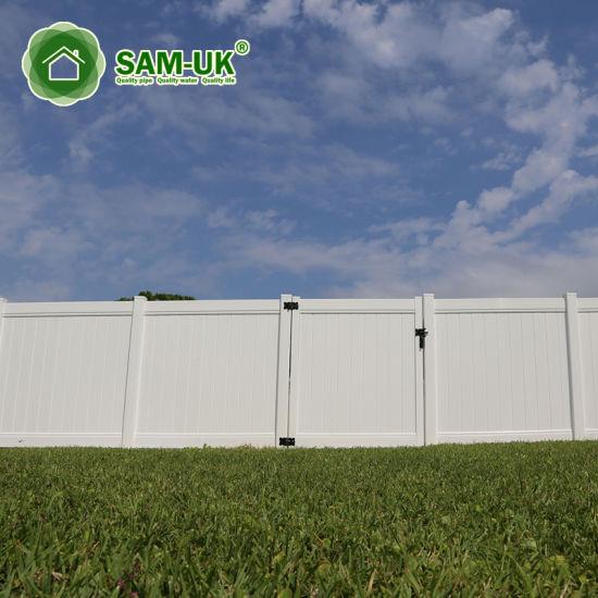 6' X 8' Vinyl PVC Private Fence Double Gate Uneven Ground