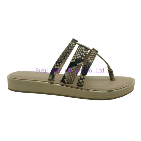 High-End Women Slippers PVC Snake-Grain Lady Fashion Sandals pictures & photos
