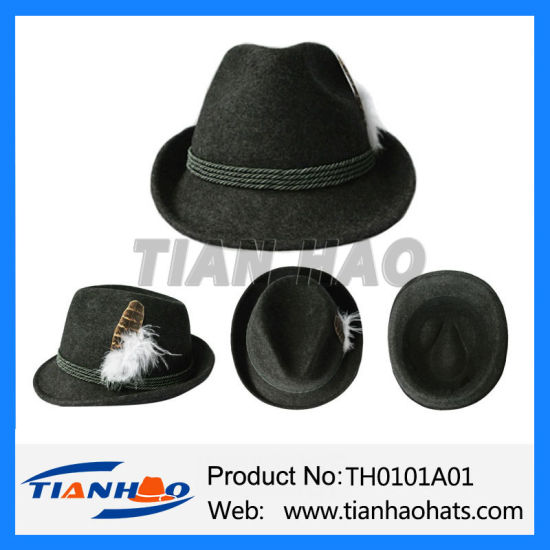 2fac8ee8fa9 Traditional Oktoberfest Bavarian Mountain Alpine Fedora 100% Wool Felt Hat  with Feather