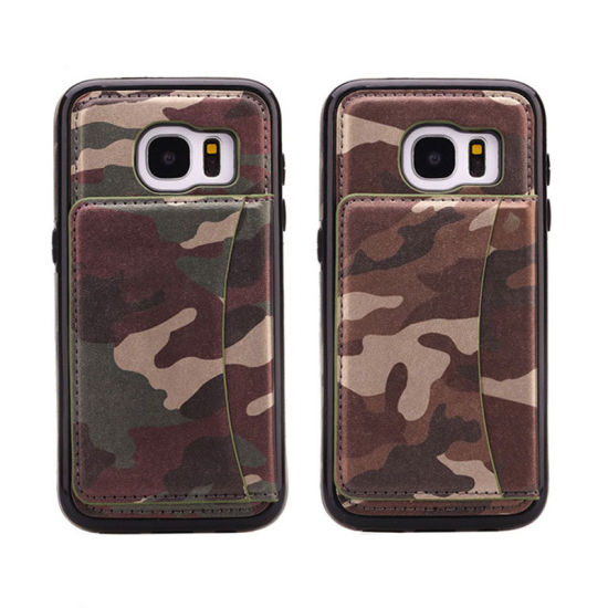 New Camouflage Card Holder Bracket Phone Case for Samsung S6/S7/S8 pictures & photos