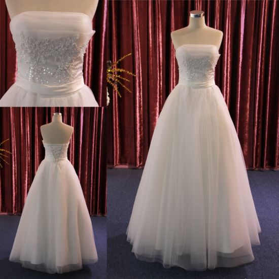 China New Custom High-End Strapless Ruched Bridal Dress Wedding Gown ...