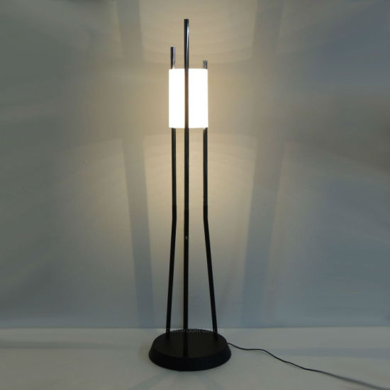 Project Black Chrome Metal and Acrylic Fabric Shade Floor Lamp Adjustale with LED Strip