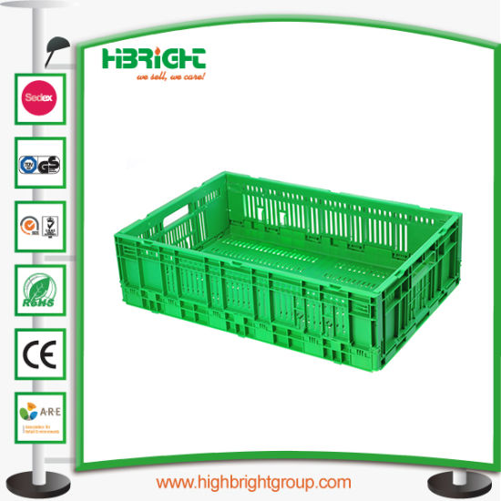 China Hyper Market Black Folding Stacking Vegetable Crate