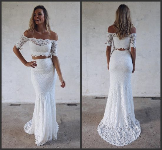 China Short Sleeves Bridal Gowns Lace Mermaid Beach Traveling ...