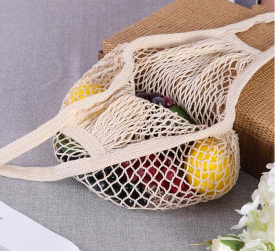 Cotton Eco Friendly Long Handled Toe Bag Reusable Grocery Canvas Net Mesh Shopping Bag