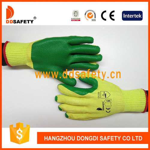 Ddsafety Wholesale Cotton Green Rubber Heavy Duty Working Safety Gloves