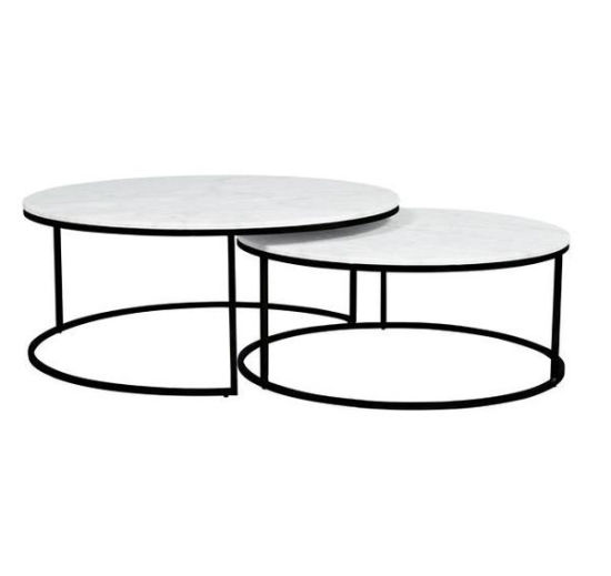 Pleasing Modern Round Metal Marble 2 Piece Nest Coffee Table Set Pdpeps Interior Chair Design Pdpepsorg
