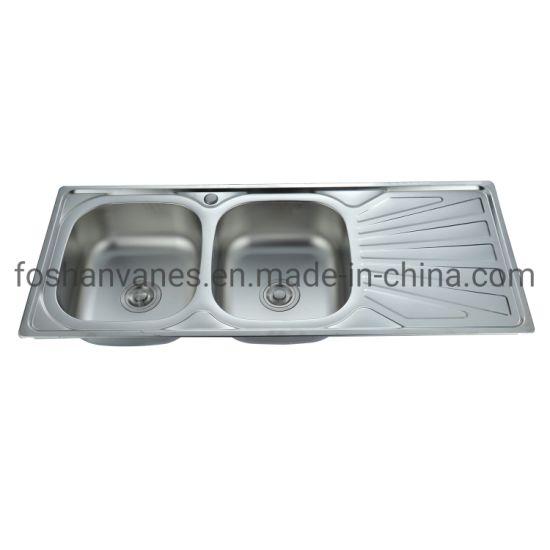 Double Sink Stainless Steel Wash Bain Undermount Kitchen Wash Sink with Drainboard Ls-12050b