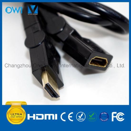 HDMI Male-Female 19 Pin Plug-Plug Cable for 4K & HDTV with Rotating Plug