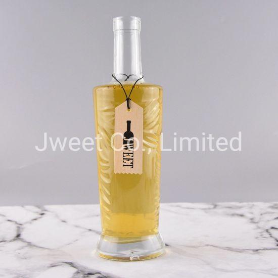 Fancy Customized Empty Elegant Carved Texture Liquor Glass Bottle