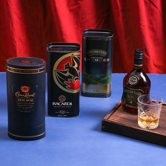 Firstsail Professional Custom Whiskey Wine Tin Box Paper Tube Packaging with Metal Lid Caps