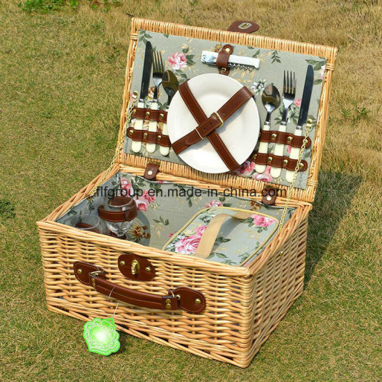 Hot Selling Handmade Environmental Wicker Camping Basket Without Dishware pictures & photos