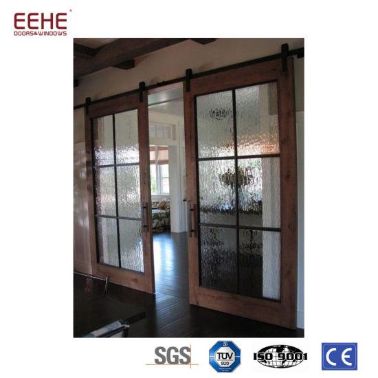 China Wood Veneer Double Glass Interior Pocket Door China Interior