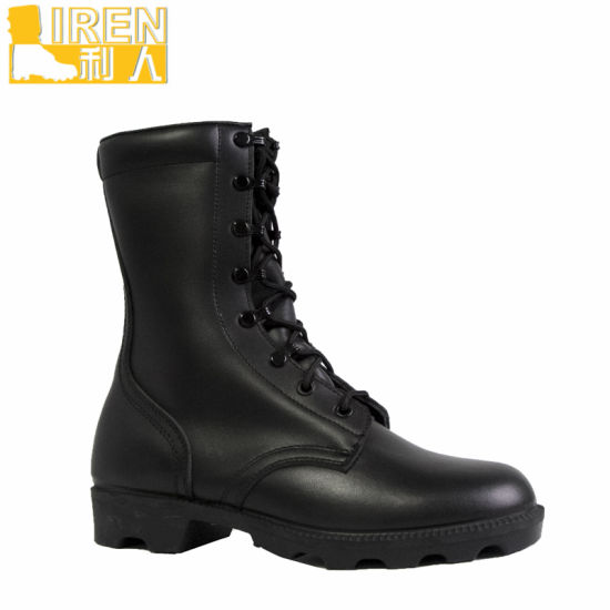 Black Genuine Leather Cheap Italian Military Boots pictures & photos