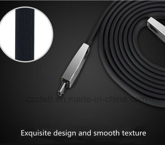 Zinc Alloy Flat Wire Charger&Transfer Data Android USB Cable pictures & photos