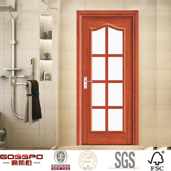 Kitchen Interior Wooden Single Carving Glass Door Design (GSP3 013)