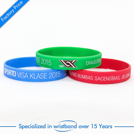 Customized Silk Screen Printed Silicone Wristband Band Chip Color Customized pictures & photos