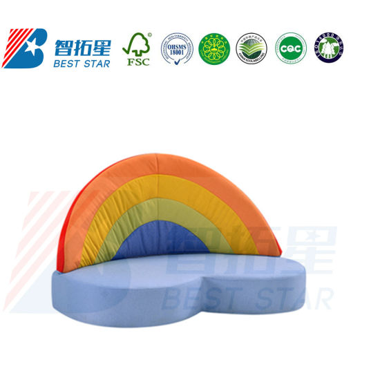 Children Playground Furniture, Day Care Center Sofa, Kids Fabric Sofa, Baby Sofa for Preschool and Kindergarten, Home Furniture and Living Room Baby Sofa