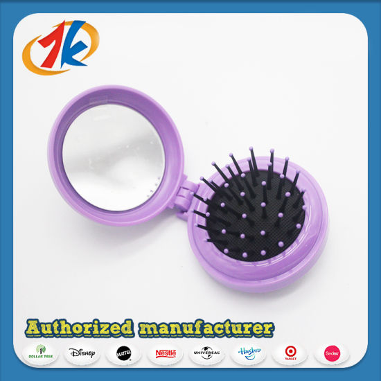 Circular Hair Brush Make up Plastic Comb and Mirror pictures & photos