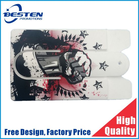 Custom 3m Adhesive Sticker Smart Wallet Silicon Ring Card Holder