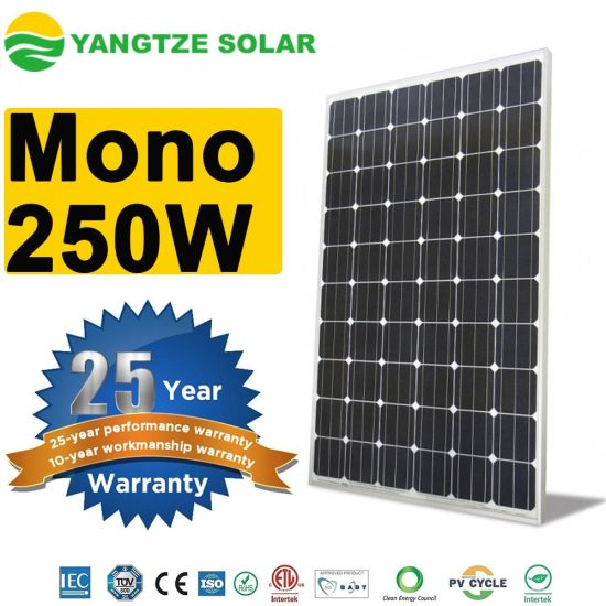 TUV UL ISO CE Certificate Monocrystalline 250W Solar Panel