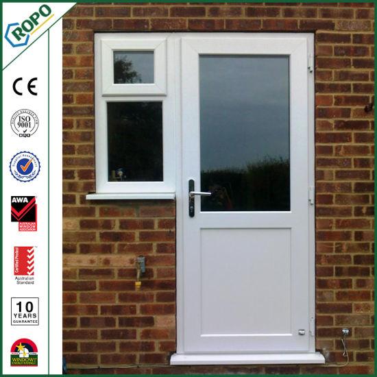 China White Pvc French Swing Door Double Glazed Casement Door