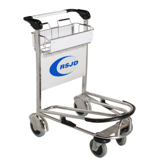Best Stainless Steel 4 Wheels Airport Hand Baggage Luggage Trolley Carts with Brake Supplier