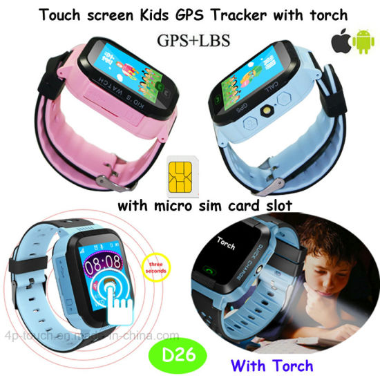 Colorful Touch Screen GPS Tracker Watch with Flashlight D26 pictures & photos