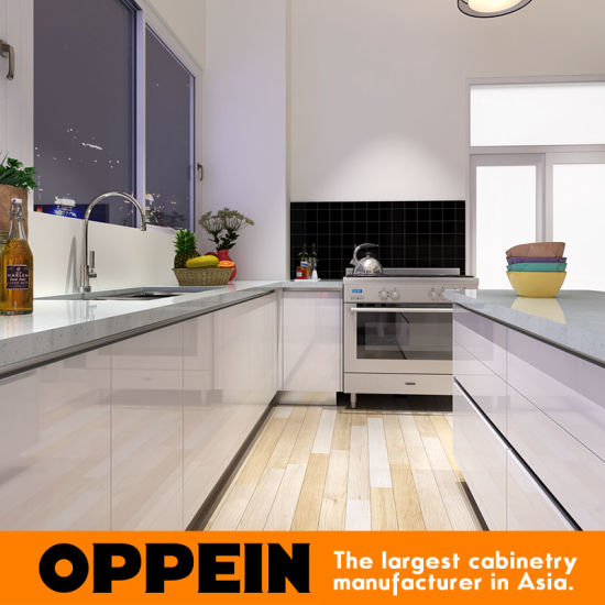 Modern High Gloss Lacquer Wood Kitchen Cabinets with Island (OP15-L34) pictures & photos