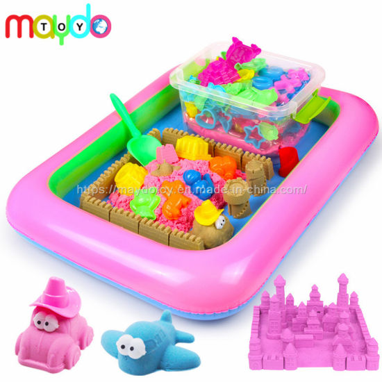 Magic Bucket Kinetic Play Sand Toy with Inflatable Sandbox Castle Set