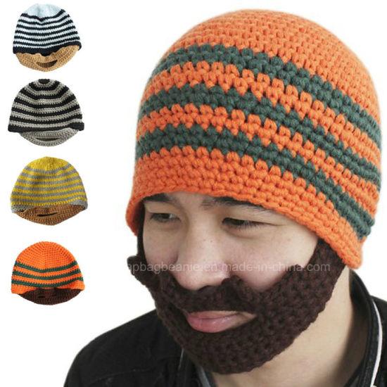 China Classic Design All Custom Hand Crochet Knitted Beard Beanie ... d438449f22e1