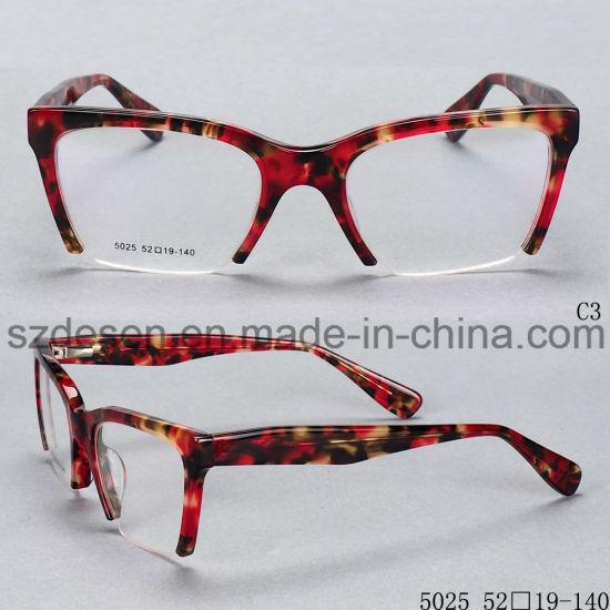 China Customized Fashion Half Rim Eye Glasses Acetate Optical Frames ...